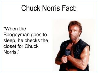 """""""When the Boogeyman goes to  sleep,  he checks the closet for Chuck Norris."""""""