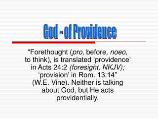 God - of Providence