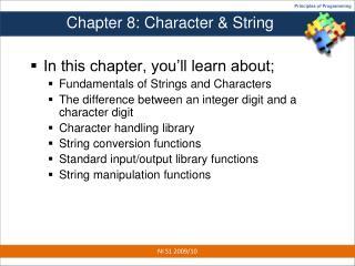 Chapter 8: Character & String