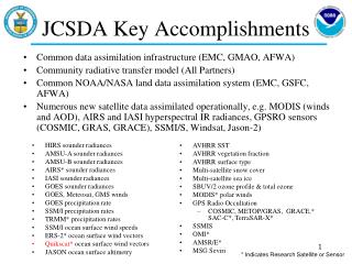 JCSDA Key Accomplishments