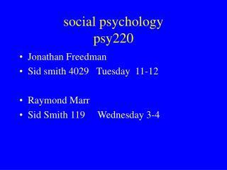 social psychology psy220
