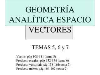 GEOMETRÍA ANALÍTICA ESPACIO VECTORES