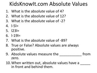 KidsKnowIt  Absolute Values