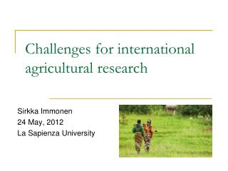 Challenges for international agricultural research