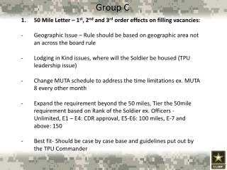 50 Mile Letter – 1 st , 2 nd  and 3 rd  order effects on filling vacancies:
