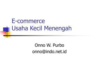 E-commerce Usaha Kecil Menengah