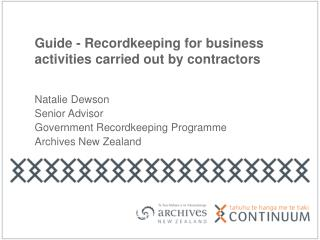 Guide - Recordkeeping for business activities carried out by contractors