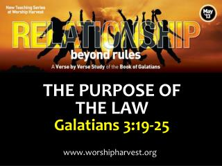 THE PURPOSE OF  THE LAW Galatians 3:19-25