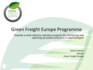 Green Freight Europe Programme