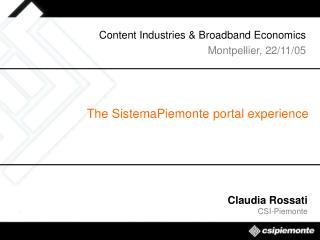 The SistemaPiemonte portal experience