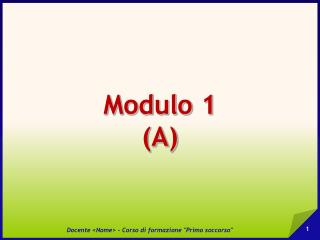Modulo 1 (A)