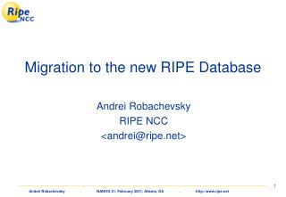 Migration to the new RIPE Database