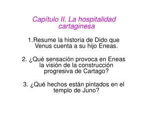 Capítulo II. La hospitalidad cartaginesa