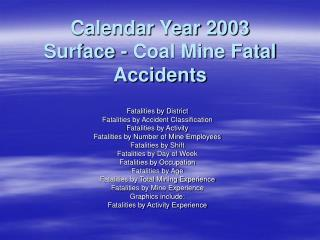 Calendar Year 2003  Surface - Coal Mine Fatal Accidents