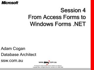 Session 4 From Access Forms to Windows Forms .NET