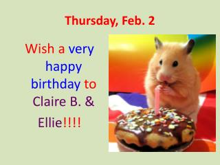 Thursday,  Feb. 2