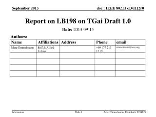 Report on LB198 on  TGai  Draft 1.0