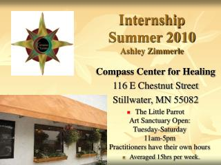 Internship  Summer 2010 Ashley Zimmerle