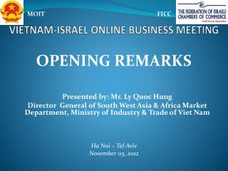 VIETNAM-ISRAEL ONLINE BUSINESS MEETING