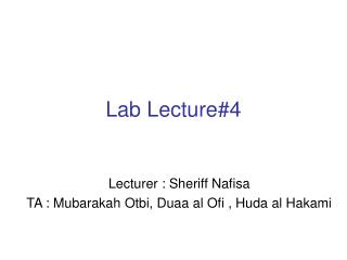 Lab Lecture#4