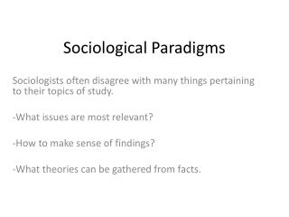 Sociological Paradigms