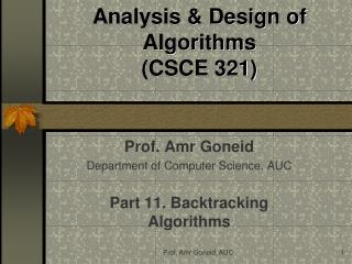 Analysis & Design of Algorithms (CSCE 321)
