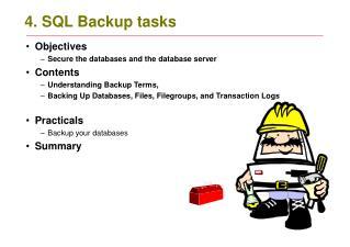 4. SQL Backup tasks