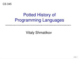 Potted History of Programming Languages