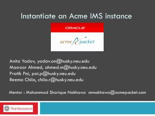 Instantiate an Acme IMS instance