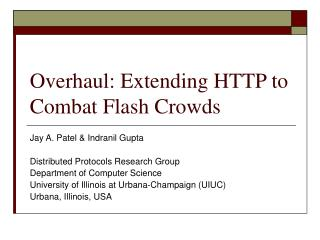 Overhaul: Extending HTTP to Combat Flash Crowds