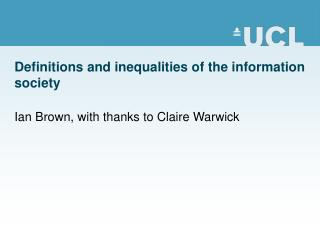 Definitions and inequalities of the information society