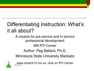 Differentiating Instruction: What's it all about?