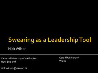 Swearing as a Leadership Tool