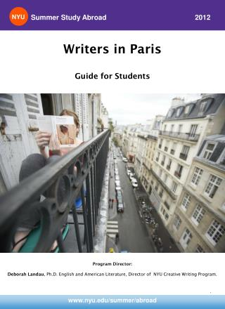 Writers in Paris Guide for Students