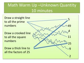 Math Warm Up –Unknown Quantity 10 minutes