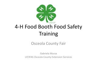 4-H Food Booth Food Safety Training