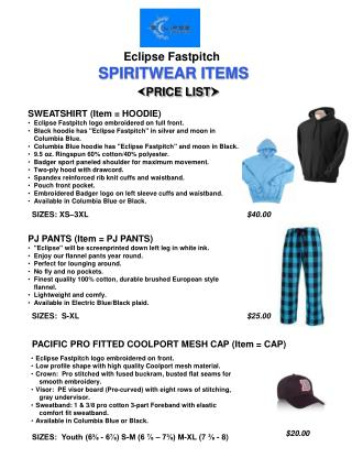 Eclipse Fastpitch SPIRITWEAR ITEMS