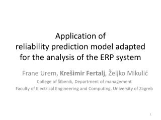 Application of  reliability prediction model adapted for the analysis of the ERP system