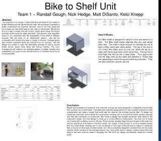 Bike to Shelf Unit  Team 1 – Randall Gough, Nick Hedge, Matt  DiSanto ,  Kelci Knepp