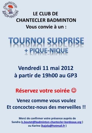 TOURNOI SURPRISE +  pique-nique