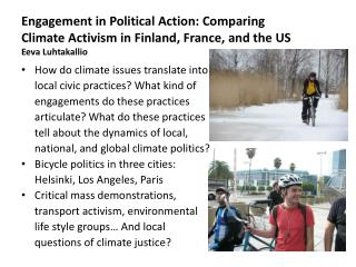 How do  climate  issues translate  into local  civic  practices?  What kind  of