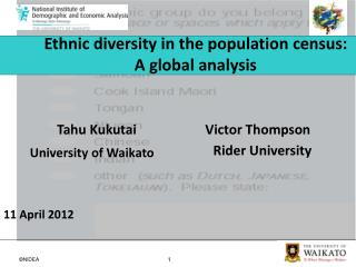 Ethnic diversity in the population census:  A global analysis