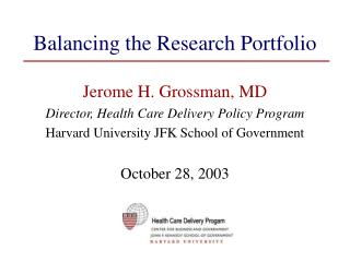 Balancing the Research Portfolio