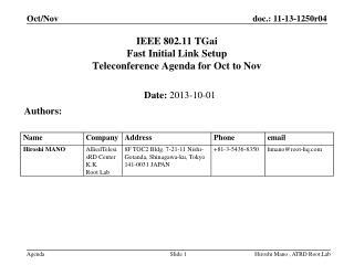 IEEE 802.11  TGai Fast Initial Link Setup  Teleconference Agenda for  Oct to Nov