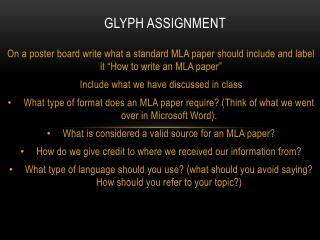 Glyph Assignment