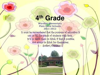 4 th  Grade Warstler Elementary Plain Local Schools 2011-2012