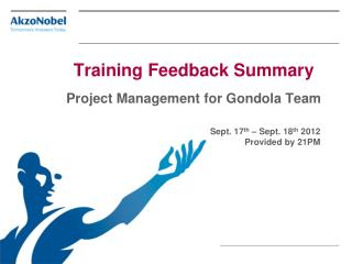 Training Feedback Summary Project Management for Gondola Team