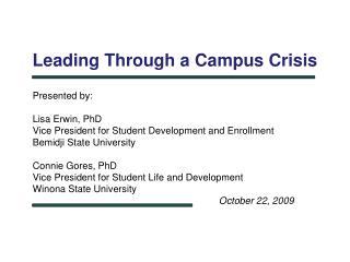 Leading Through a Campus Crisis
