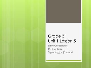 Grade 3  Unit 1 Lesson 5