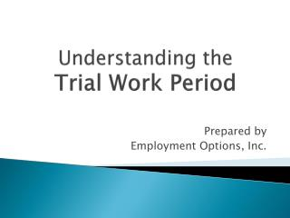 Understanding the  Trial Work Period